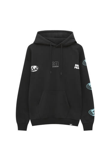 Black hoodie with blue world detail
