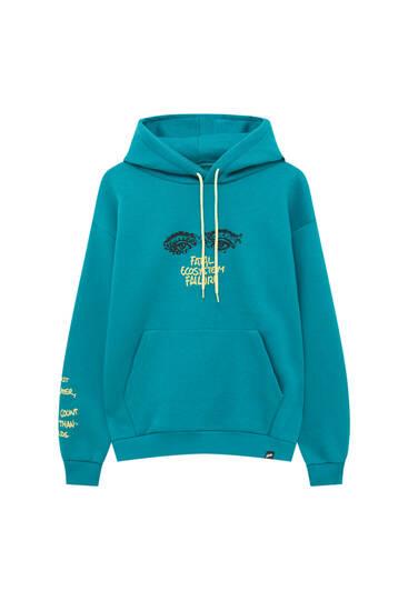 Blue hoodie with contrast slogan