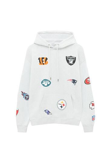 Grey NFL logos hoodie