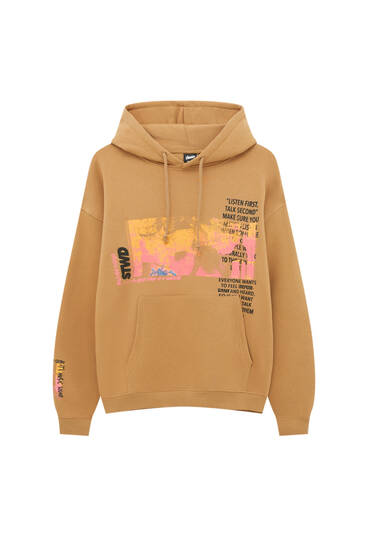 Brown hoodie with STWD illustration