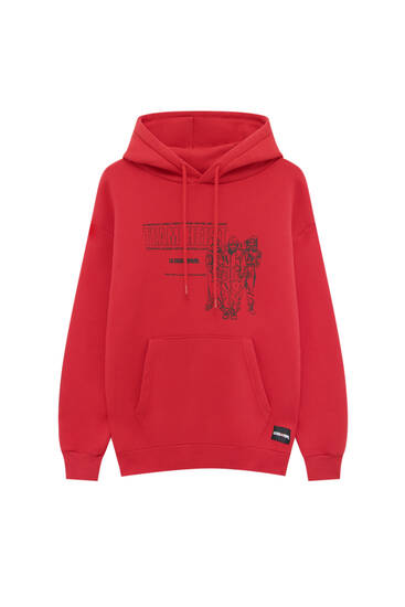 Red Money Heist x Pull&Bear hoodie with characters