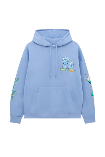 Blue Rick and Morty illustration hoodie