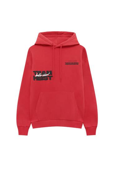 """Red Money Heist x Pull&Bear hoodie with slogan """"Team Heist"""""""