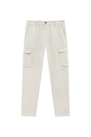 Pantalon cargo relaxed fit garment dyed
