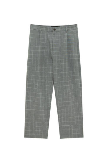 Wide-leg tailored trousers with darts