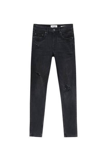 Jeans im Superskinny-Fit aus Premium-Material mit Rissen