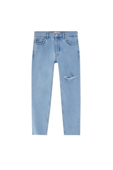 Τζιν παντελόνι standard fit με σκισίματα