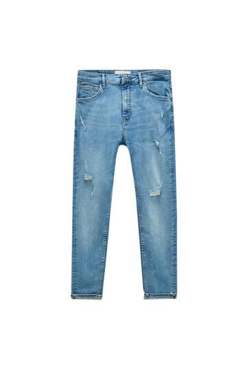 Jean carrot fit bleu moyen déchirures - Contient du coton recyclé