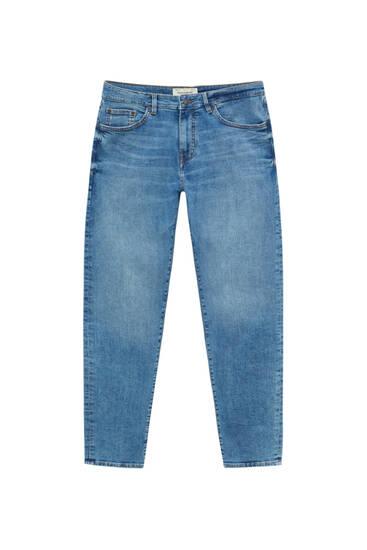 Mittelgroße blaue Skinny Fit Jeans in Used-Optik