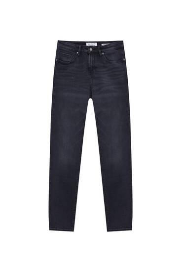 Super Skinny Fit Jeans in verwaschenem Schwarz