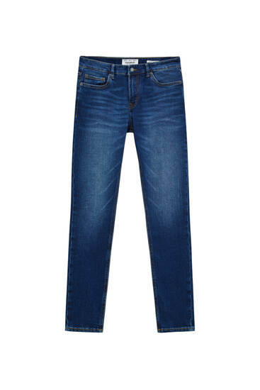 Dunkelblaue Super Skinny Fit Jeans im Washed-Look