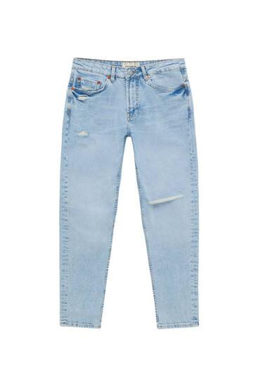 Τζιν παντελόνι slim fit basic με σκισίματα