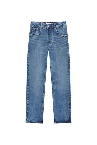 Jeans calças direitas vintage básicas