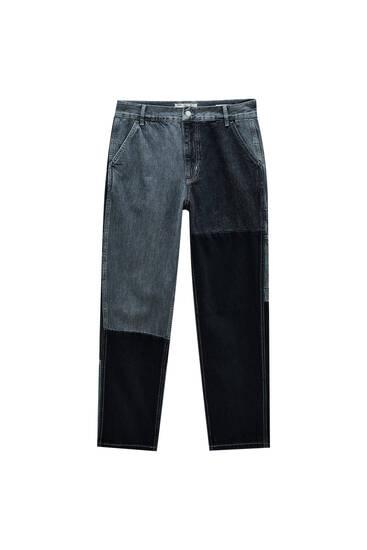 Сірі джинси в стилі печворк