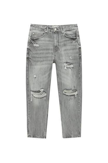 Jeans relax fit premium com rasgões