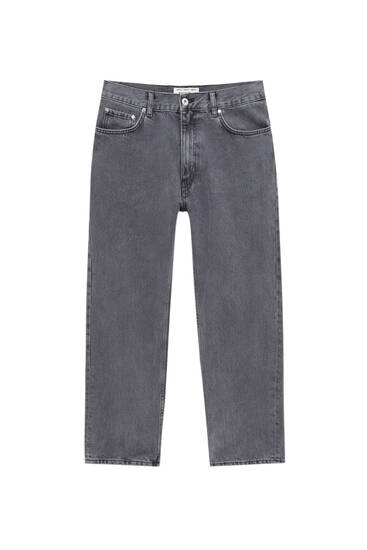 Graue Wide Leg-Jeans im Washed-Look