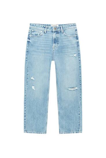 Loose-Fit-Jeans aus Premium-Material mit Rissen