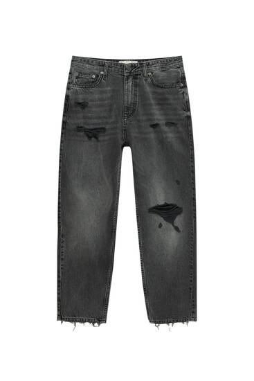 Premium fabric loose fit jeans with ripped detailing