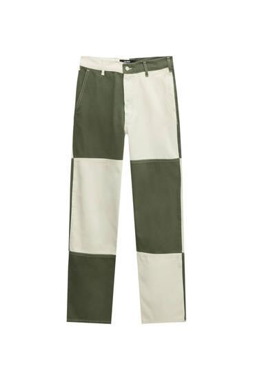 Contrast colour block jeans