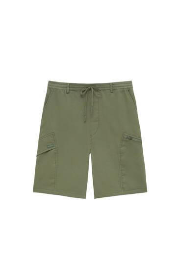 Soft knit cargo Bermuda shorts