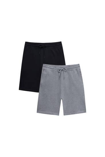 Pack of 2 pairs of basic jogger Bermuda shorts