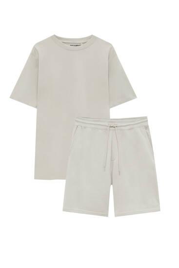 Jogger-Bermudashorts und T-Shirt im Set