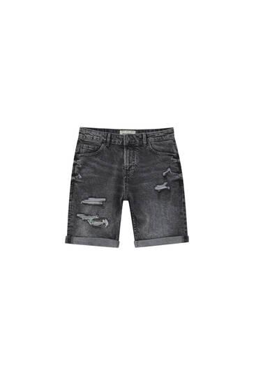 Ripped grey denim Bermuda shorts