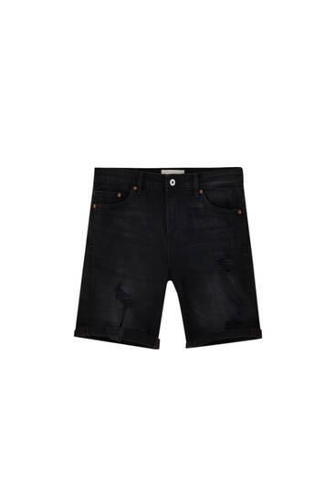 Slim fit black denim Bermuda shorts