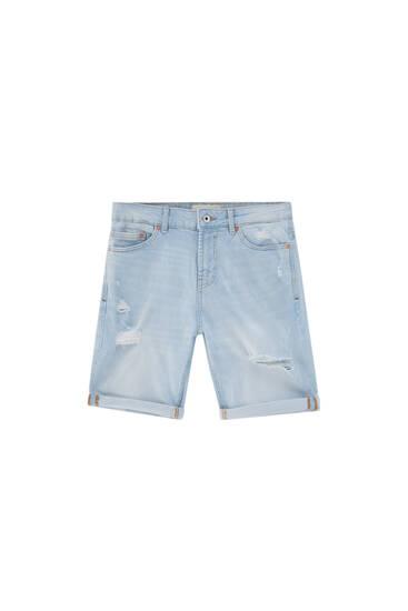Bleached slim fit denim Bermuda shorts