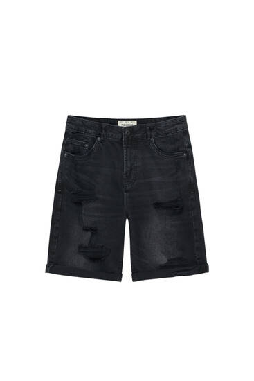 Black denim slim fit Bermuda shorts with ripped detail