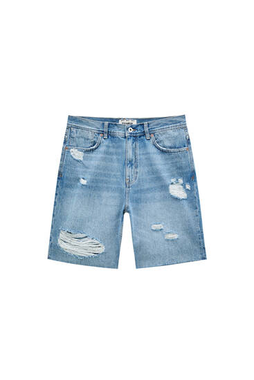 Relaxed fit denim Bermuda shorts with ripped detail