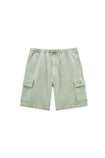 Denim Bermuda shorts with flap pockets
