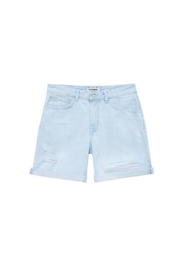 Jeans-bermudashorts im Slim-Fit mit Rissen im Super-Bleach-Look