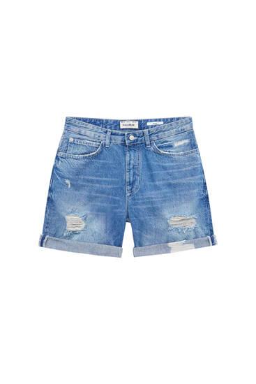 Jeansbermudashorts im Slim-Fit mit Zierrissen