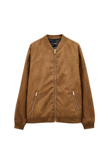 Базова куртка-бомбер зі штучної замші