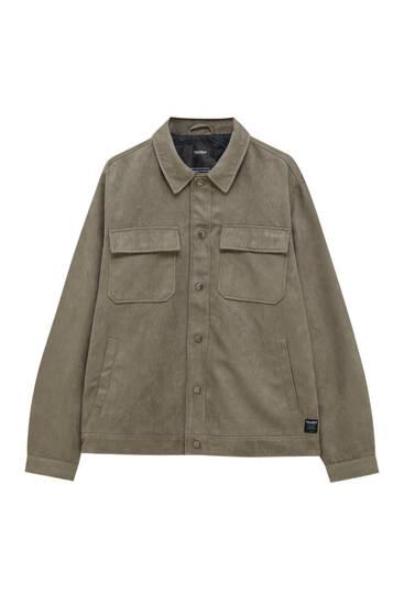 Faux suede trucker jacket