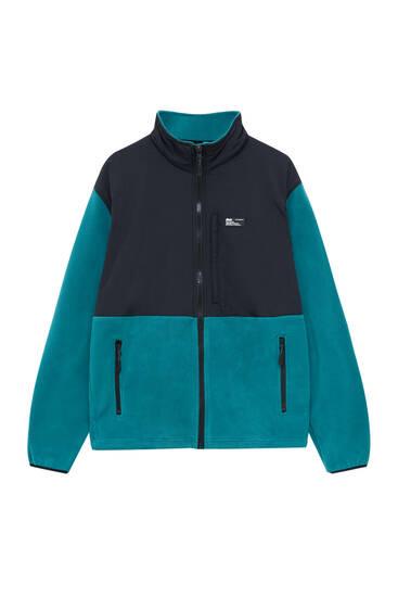Contrast fabric fleece jacket