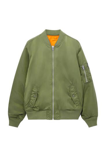 Reversible nylon bomber jacket