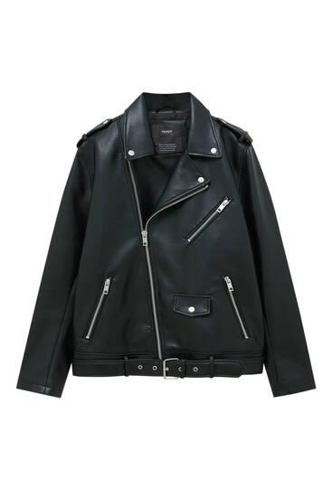 Черная куртка-косуха из искусственной кожи