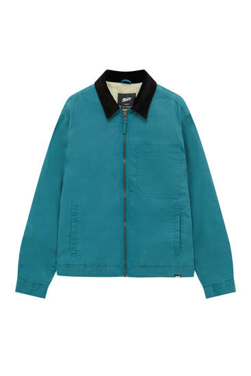 Worker jacket with contrast corduroy collar