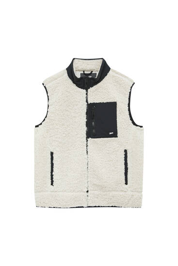 Faux shearling vest with contrast pocket