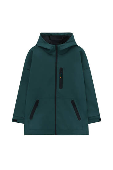 Rubberised hooded jacket