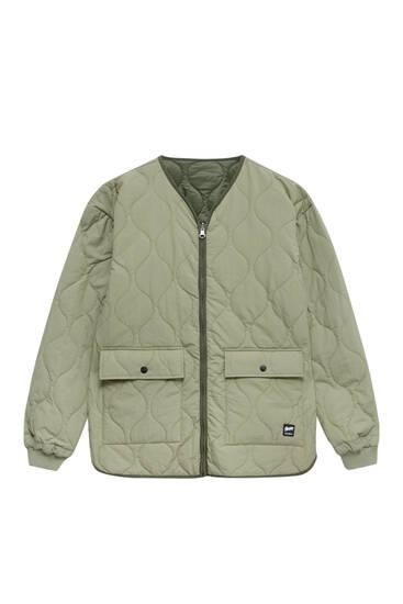 Reversible quilted khaki jacket