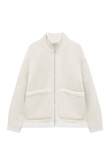Reversible jacket with faux shearling detail