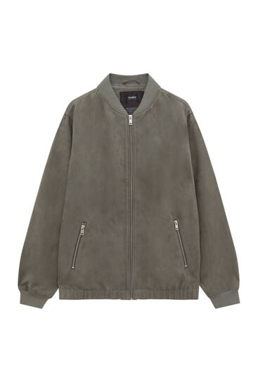 Lightweight faux suede bomber jacket