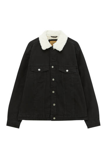 Black denim jacket with faux shearling collar