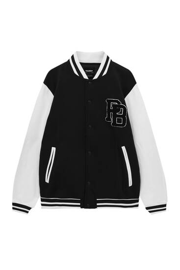 Contrast varsity jacket with patch detail