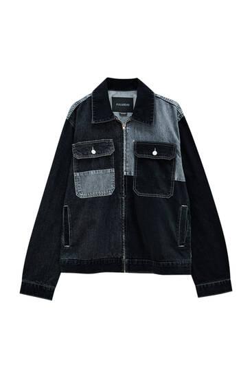 Grey colour block denim jacket