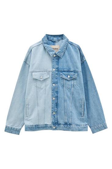 Синя джинсова куртка з кольоровими блоками