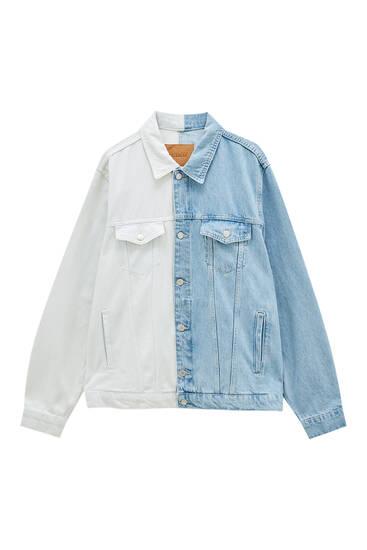 Біло-синя джинсова куртка